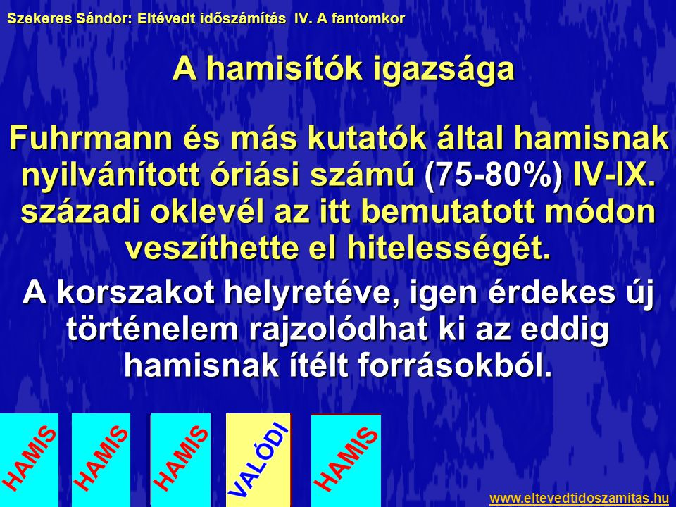 Szekeres Sándor: Eltévedt időszámítás IV. A fantomkor Fuhrmann és más kutatók által hamisnak nyilvánított óriási számú (75-80%) IV-IX. századi oklevél