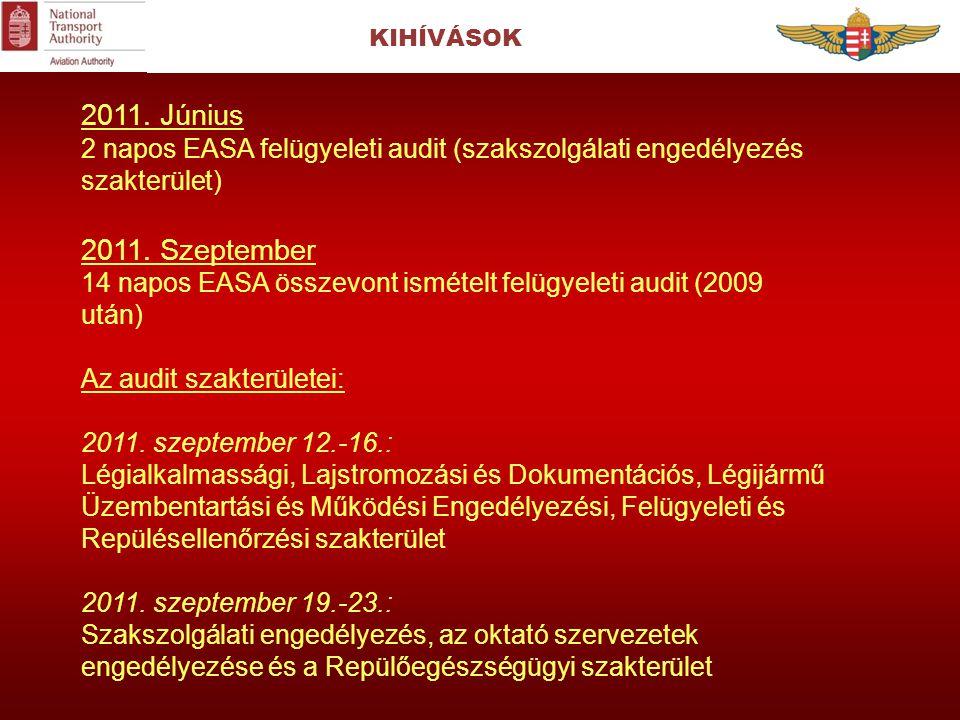 KIHÍVÁSOK 2011. Június 2 napos EASA felügyeleti audit (szakszolgálati engedélyezés szakterület) 2011. Szeptember 14 napos EASA összevont ismételt felü