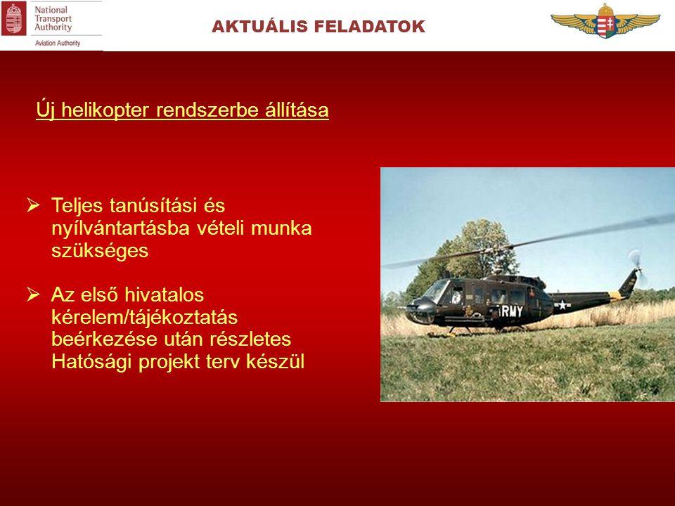 AKTUÁLIS FELADATOK Új helikopter rendszerbe állítása  Teljes tanúsítási és nyílvántartásba vételi munka szükséges  Az első hivatalos kérelem/tájékoz