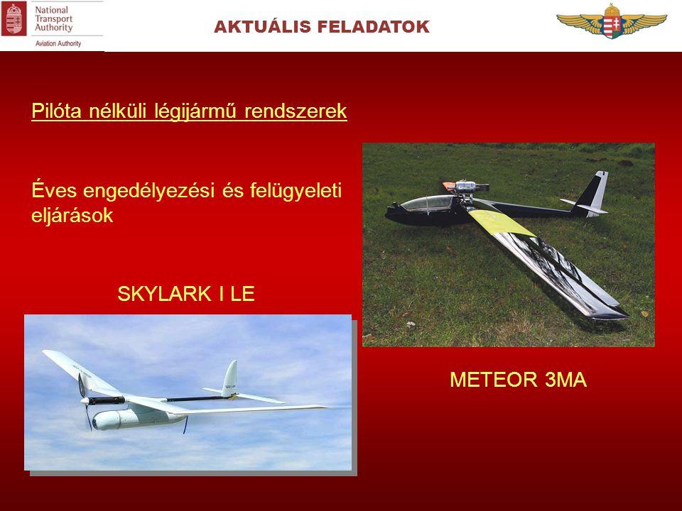 AKTUÁLIS FELADATOK Pilóta nélküli légijármű rendszerek Éves engedélyezési és felügyeleti eljárások SKYLARK I LE METEOR 3MA