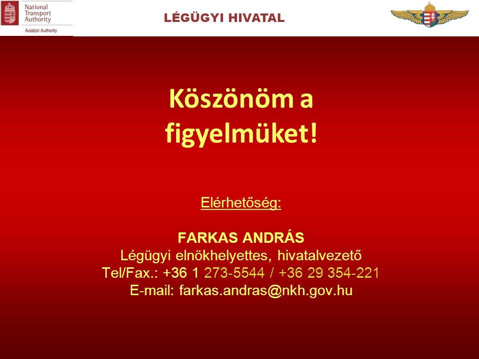 Elérhetőség: FARKAS ANDRÁS Légügyi elnökhelyettes, hivatalvezető Tel/Fax.: +36 1 273-5544 / +36 29 354-221 E-mail: farkas.andras@nkh.gov.hu Köszönöm a