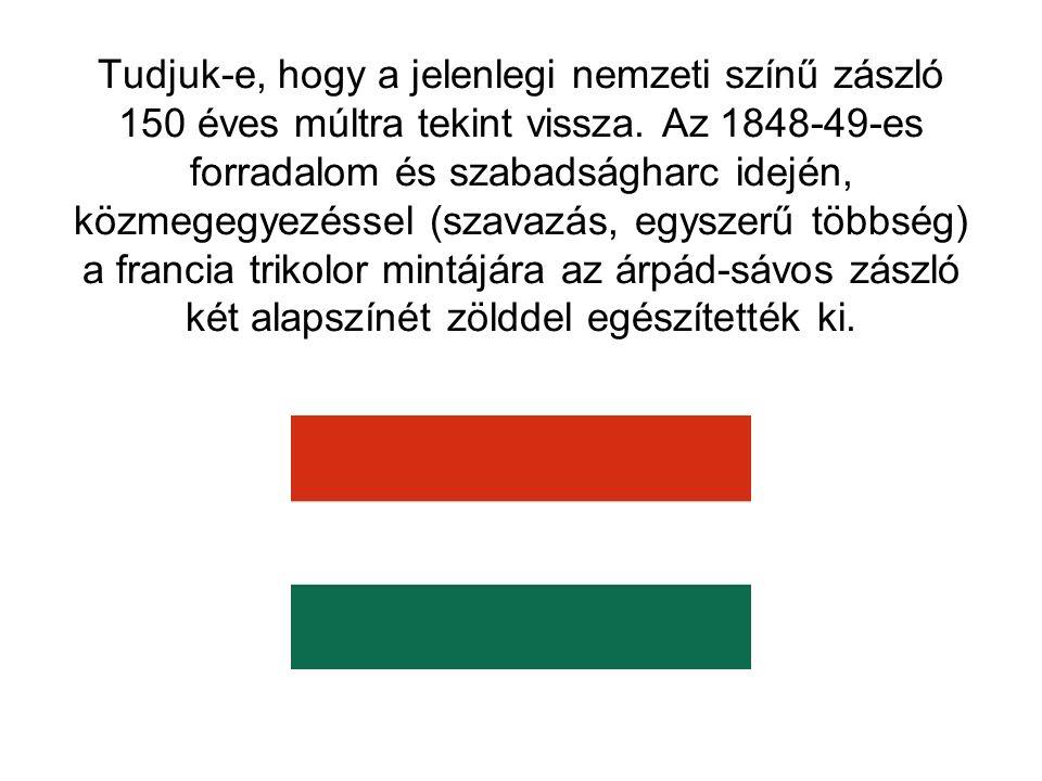 Tudjuk-e, hogy a jelenlegi nemzeti színű zászló 150 éves múltra tekint vissza. Az 1848-49-es forradalom és szabadságharc idején, közmegegyezéssel (sza