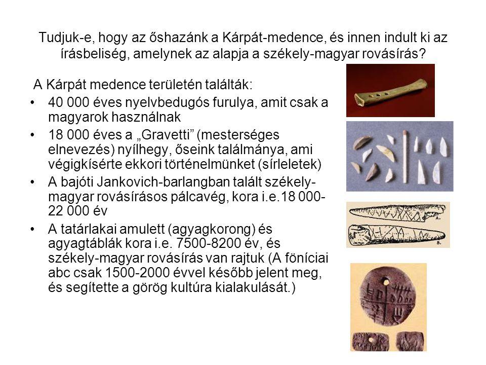 Tudjuk-e, hogy az őshazánk a Kárpát-medence, és innen indult ki az írásbeliség, amelynek az alapja a székely-magyar rovásírás? A Kárpát medence terüle