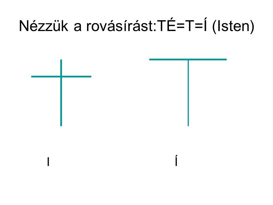 Nézzük a rovásírást:TÉ=T=Í (Isten) I Í