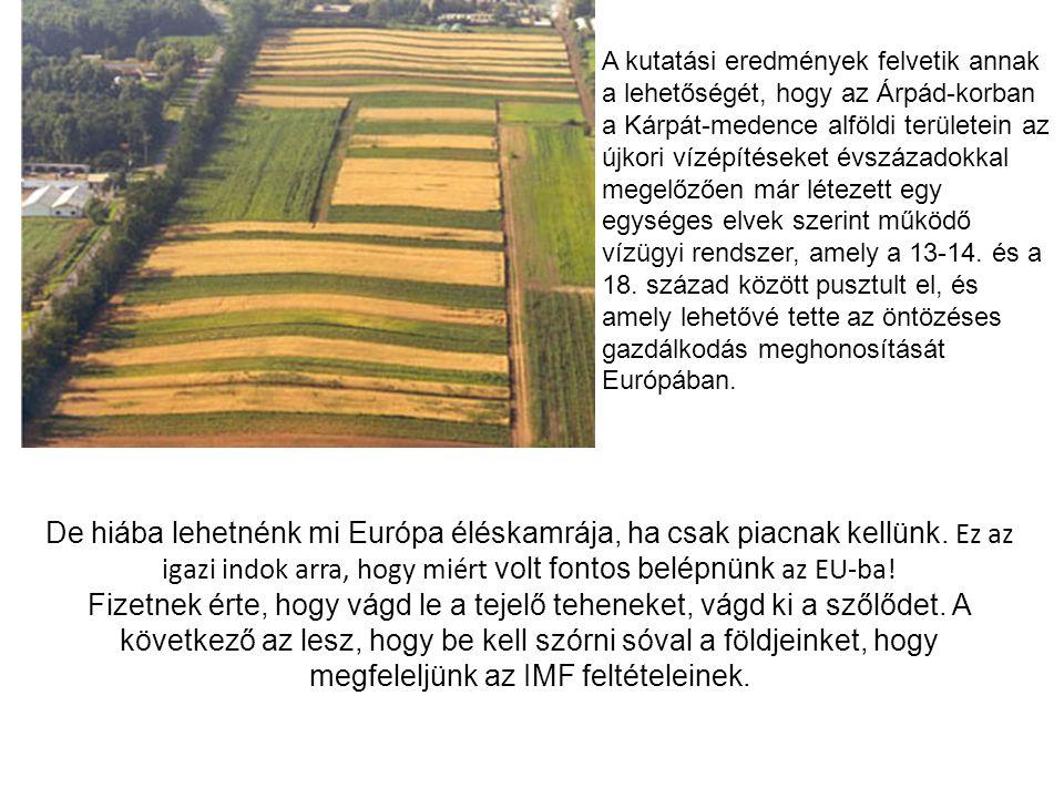 De hiába lehetnénk mi Európa éléskamrája, ha csak piacnak kellünk. Ez az igazi indok arra, hogy miért volt fontos belépnünk az EU-ba! Fizetnek érte, h