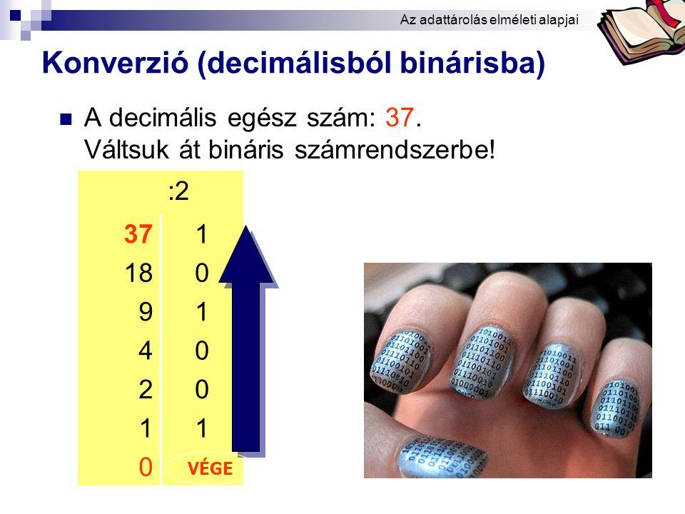 Bóta Laca Tárolható kódok száma  1 biten: 2 1 = 2  2 biten: 2 2 = 4  3 biten: 2 3 = 8  4 biten: 2 4 = 16  5 biten: 2 5 = 32  6 biten: 2 6 = 64  7 biten: 2 7 = 128  8 biten: 2 8 = 256  9 biten: 2 9 = 512  10 biten: 2 10 = 1024 000 001 010 011 100 101 110 111 Az adattárolás elméleti alapjai