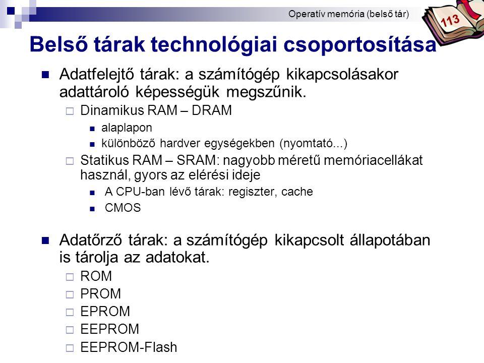 Bóta Laca A legfőbb tárak az alaplapon Operatív memória (belső tár) 253