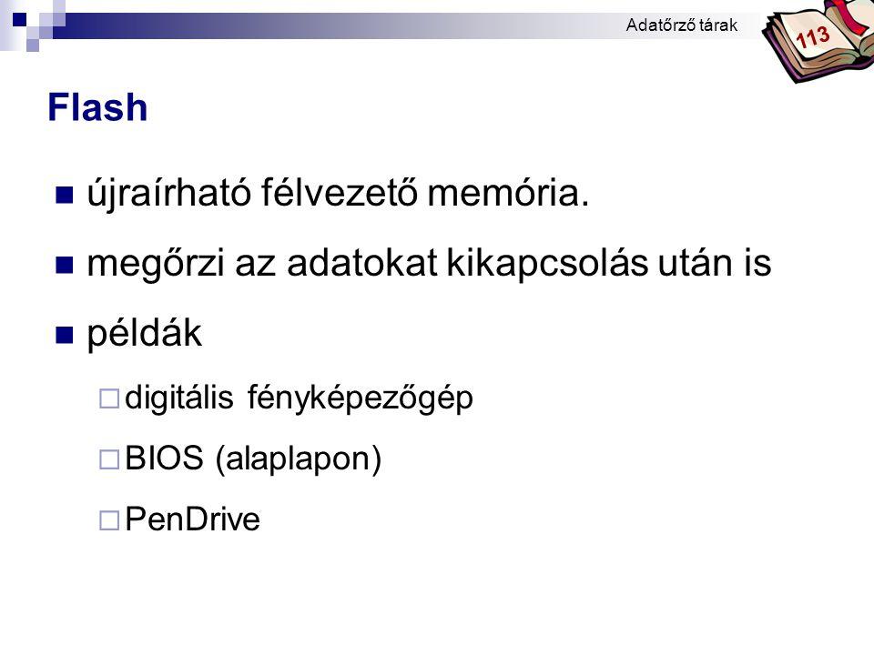 Bóta Laca Flash  újraírható félvezető memória.  megőrzi az adatokat kikapcsolás után is  példák  digitális fényképezőgép  BIOS (alaplapon)  PenD