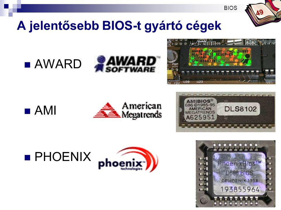 Bóta Laca A BIOS, CMOS setup az alaplapon ALAPLAP FLASH – EEPROM - integrált chip * BIOS * POST CMOS – RAM - órajelgenerátor chip része + gombelem az adattároláshoz * BIOS SETUP * TIMER Programrutinok Beállítások BIOS 49