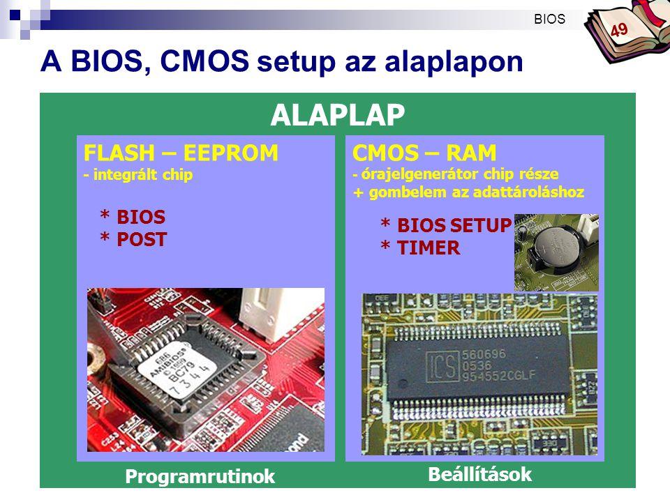 Bóta Laca A BIOS setup program  A BIOS rutinok működését befolyásoló, a felhasználó által beállítható értékek megváltoztatására (megtekintésére) szolgáló program.