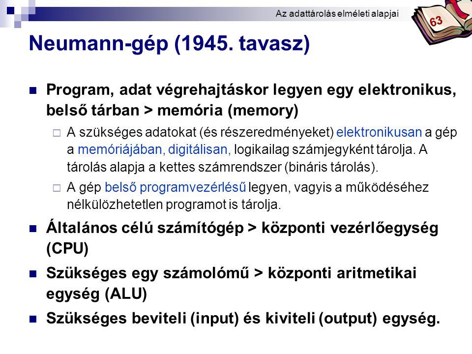 Bóta Laca Az adattárolás fogalmai  memory (angol) – tároló(egység)  operative memory  operatív memória, operatív tár  központi memória, memória  (elektronikus) belső tár  munkatár  főtár  elsődleges tár  ROM (read only memory): csak olvasható memória, ami része a belső tárnak, de a CD- ROM, DVD-ROM háttértáraknál is ezt jelenti  secondary memory: háttértár Az adattárolás elméleti alapjai