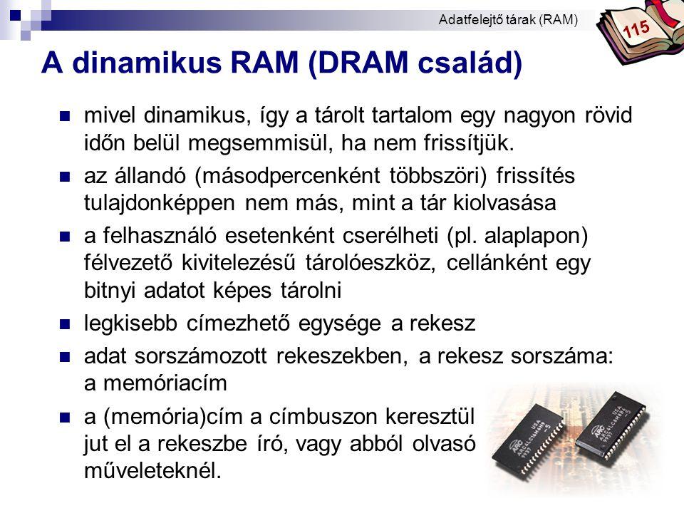 Bóta Laca DRAM működése * Adatfelejtő tárak (RAM) 115
