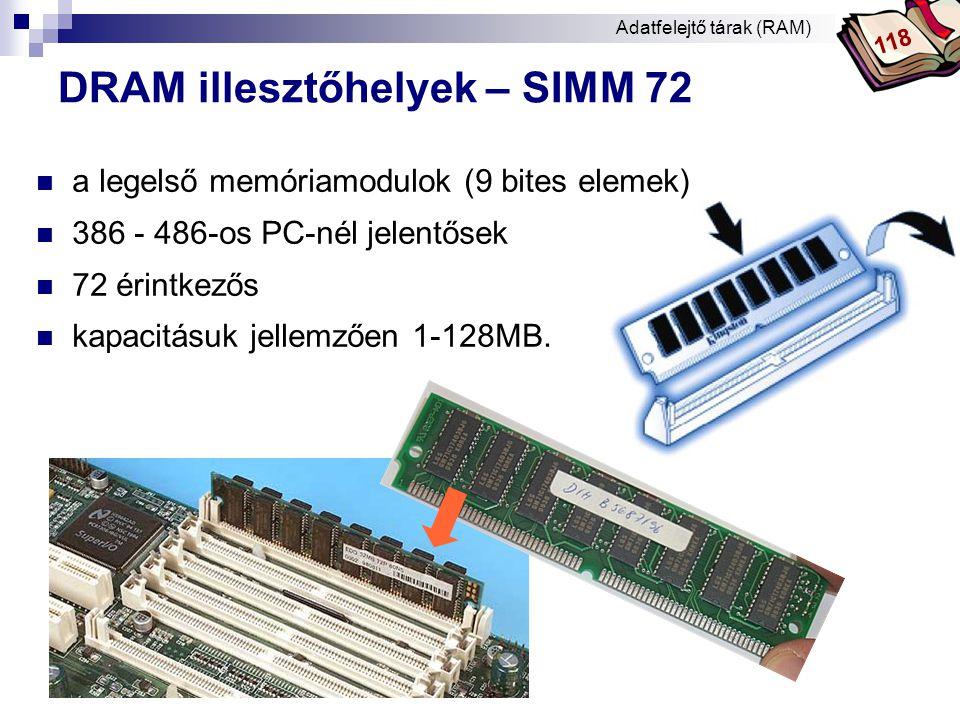 Bóta Laca DRAM illesztőhelyek – DIMM  DIMM (Dual In-Line Memory Modul)  PII-től a PC általános memória illesztője  168, 184, 240 érintkezős  adatbusz: 64 bit  3,3V, 5V Adatfelejtő tárak (RAM) 118