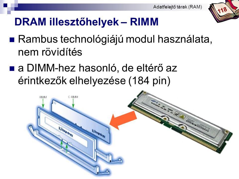 Bóta Laca DRAM elhelyezése az alaplapon Adatfelejtő tárak (RAM) 252