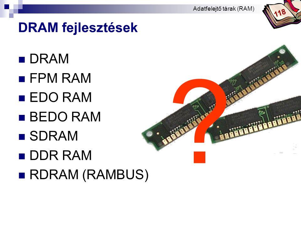 Bóta Laca A DRAM fajtái - DRAM  ciklus idő: 60 és 70 ns (nanoszekundum)  működési sebesség: max.