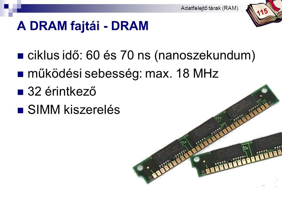 Bóta Laca A DRAM fajtái – FPM RAM  FPM (Fast Page Mode) DRAM - gyors lapmódú RAM  ciklusidő: 35 ns  működési sebesség: 28,5 MHz  Kb.