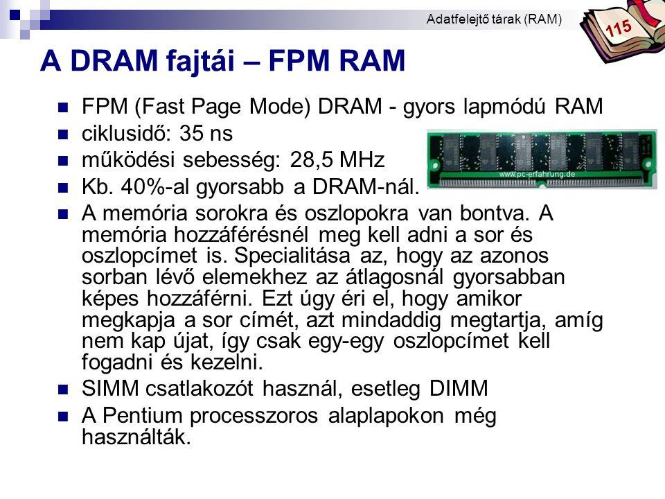 Bóta Laca A DRAM fajtái - EDO RAM  EDO (Extended Data Out) RAM - kiterjesztett adatkivitel  Adtelérési idő: 50, 60, 70, 80 ns.