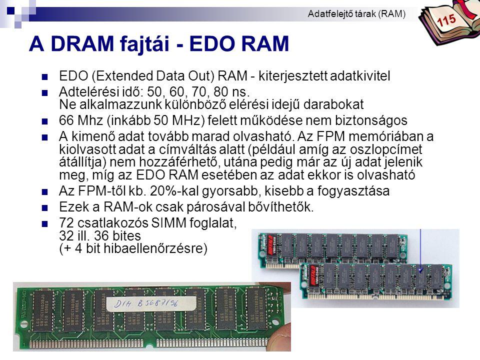 Bóta Laca A DRAM fajtái - BEDO RAM  BEDO (Burst Extended Data Output) RAM  Csoportosan olvassa az adatokat.