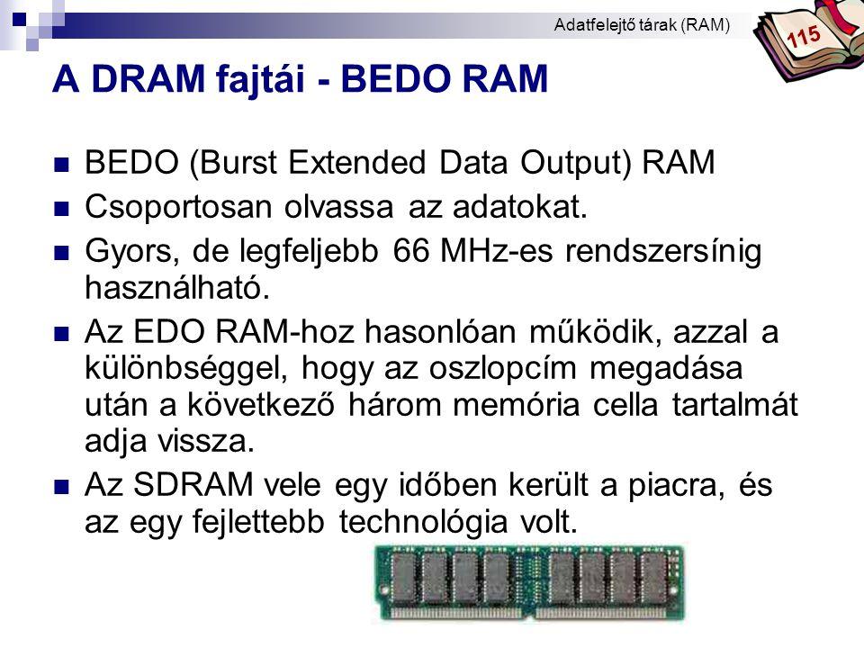 Bóta Laca A DRAM fajtái - SDRAM  SDRAM (Synchronous Dinamic Random Access Memory) - szinkron dinamikus véletlen elérésű memória.