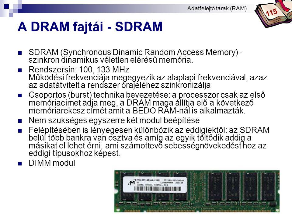 Bóta Laca A DRAM fajtái - DDR-SDRAM vagy DDRAM  DDR-SDRAM (Double Data Rate SDRAM) - kétszeres sebességű SDRAM.