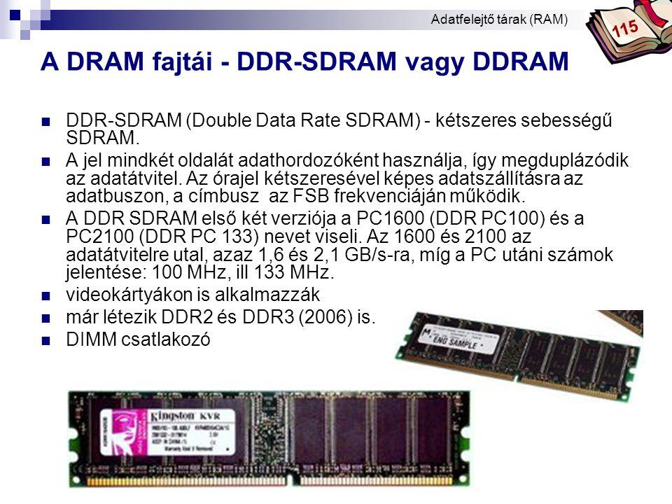 Bóta Laca A DRAM fajtái - RDRAM (RAMBUS)  Direct Rambus DRAM (DRDRAM)  Adatátviteli sebesség: kb.