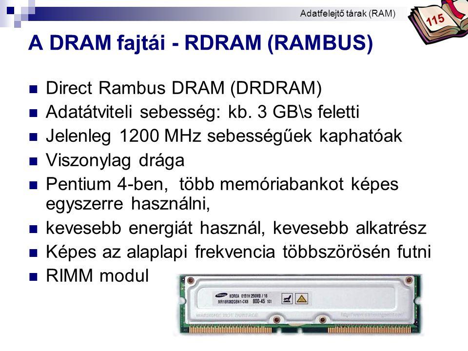 Bóta Laca DRAM – adatok összefoglalása Típus/ érintkező száma technológia adatelérés (nsec) ciklusidő adatátviteli sebesség (GB/s) órajel (MHz) processzorok jellemző kapacitás (MB) SIMM 30DRAM60, 70max.