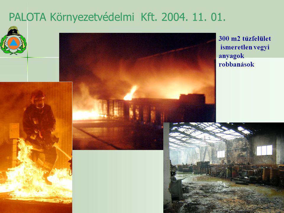PALOTA Környezetvédelmi Kft. 2004. 11. 01. 300 m2 tűzfelület ismeretlen vegyi anyagok robbanások