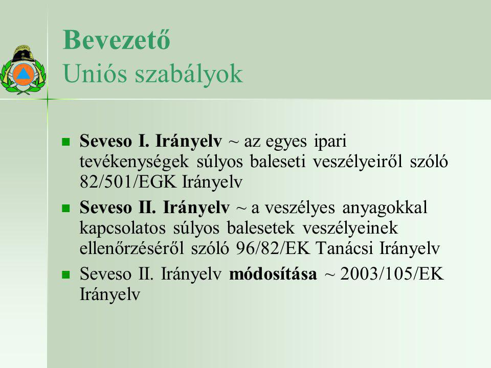 Bevezető Uniós szabályok   Seveso I. Irányelv ~ az egyes ipari tevékenységek súlyos baleseti veszélyeiről szóló 82/501/EGK Irányelv   Seveso II. I