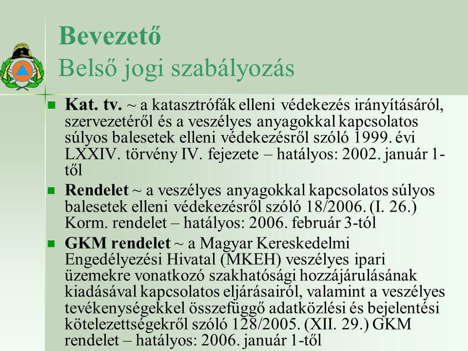 Bevezető Belső jogi szabályozás   Kat. tv. ~ a katasztrófák elleni védekezés irányításáról, szervezetéről és a veszélyes anyagokkal kapcsolatos súly