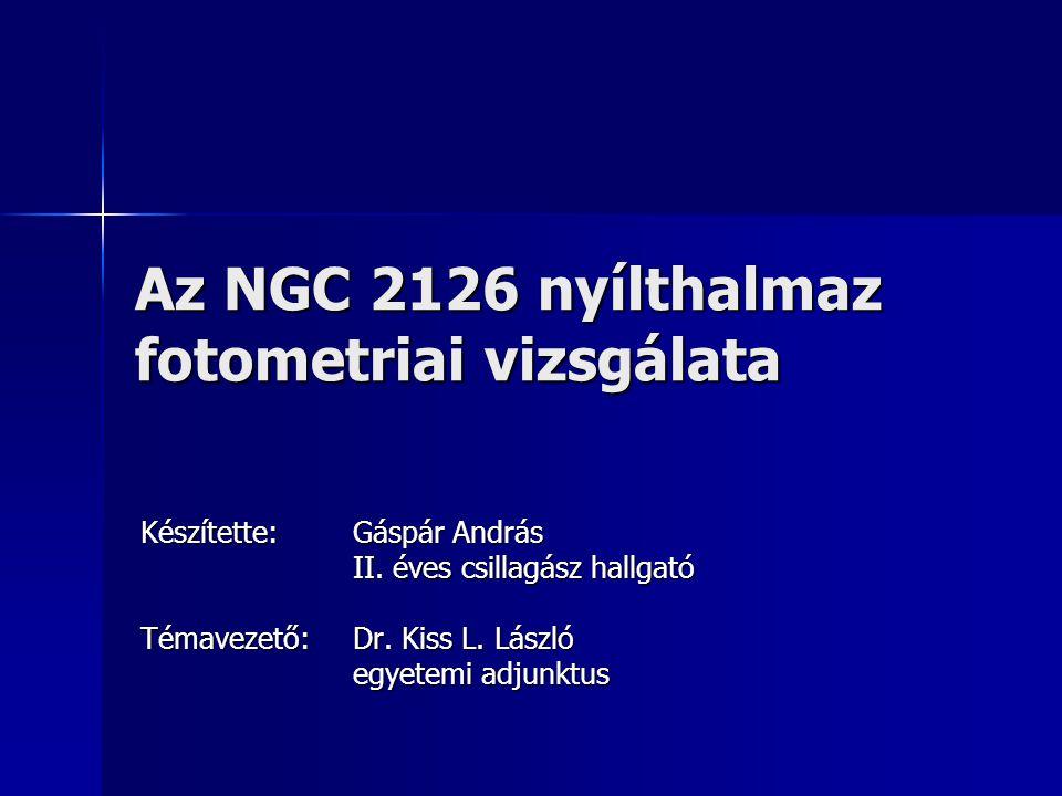 Az NGC 2126 nyílthalmaz fotometriai vizsgálata Készítette: Gáspár András II. éves csillagász hallgató Témavezető: Dr. Kiss L. László egyetemi adjunktu
