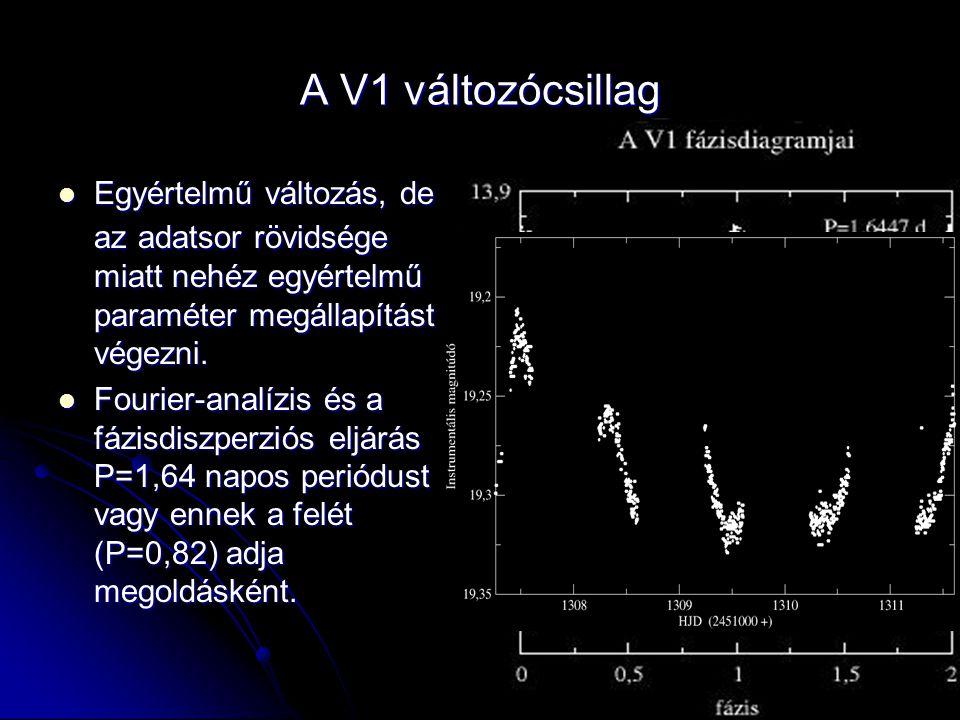A V1 változócsillag  Egyértelmű változás, de az adatsor rövidsége miatt nehéz egyértelmű paraméter megállapítást végezni.  Fourier-analízis és a fáz
