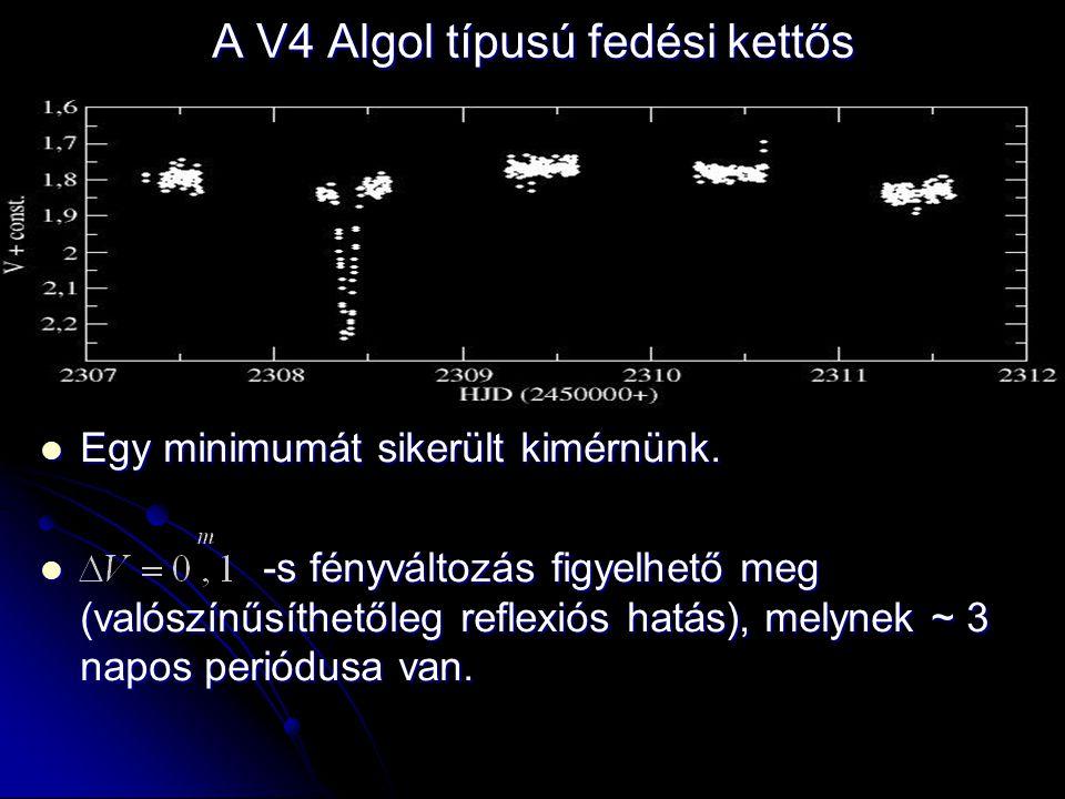 A V4 Algol típusú fedési kettős  Egy minimumát sikerült kimérnünk.  -s fényváltozás figyelhető meg (valószínűsíthetőleg reflexiós hatás), melynek ~