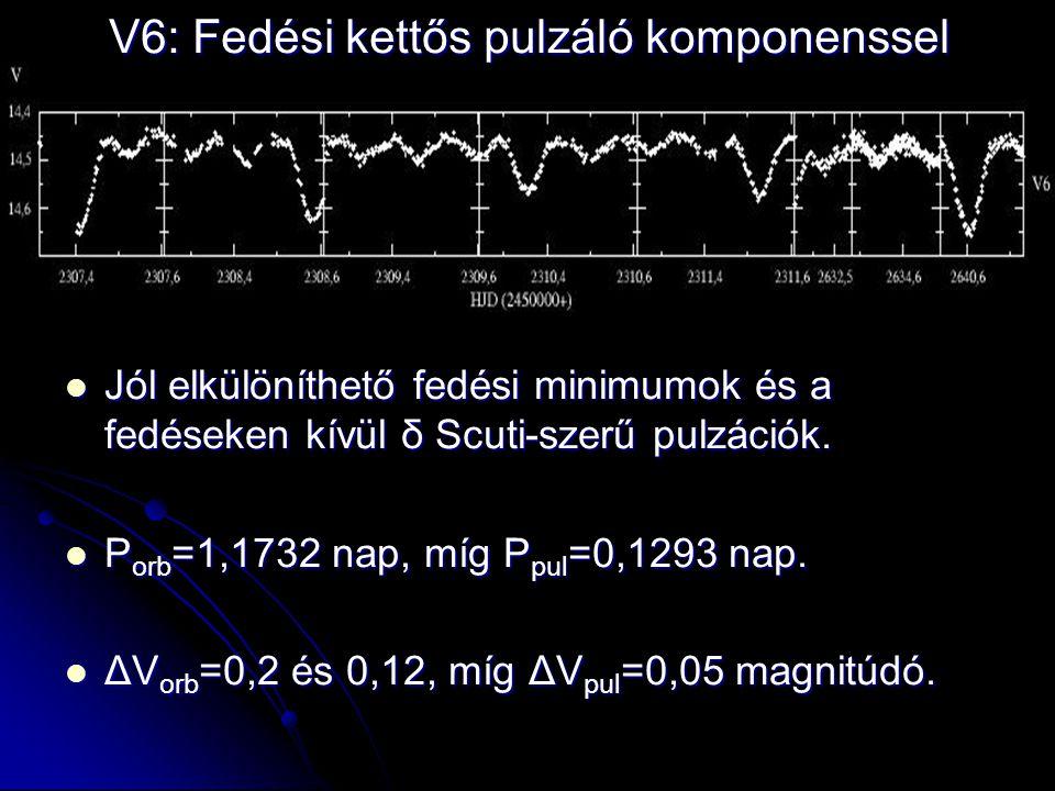 V6: Fedési kettős pulzáló komponenssel  Jól elkülöníthető fedési minimumok és a fedéseken kívül δ Scuti-szerű pulzációk.  P orb =1,1732 nap, míg P p