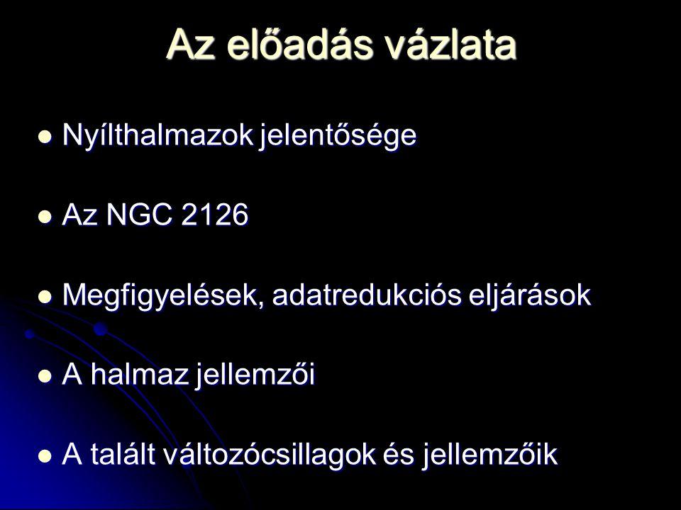 Az előadás vázlata  Nyílthalmazok jelentősége  Az NGC 2126  Megfigyelések, adatredukciós eljárások  A halmaz jellemzői  A talált változócsillagok