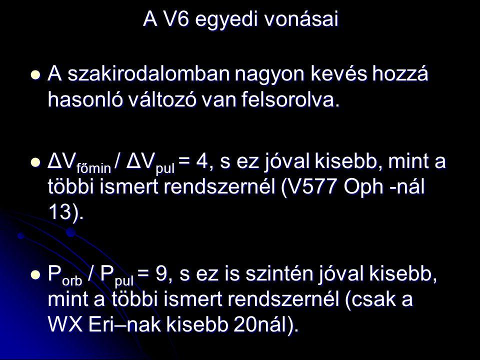 A V6 egyedi vonásai  A szakirodalomban nagyon kevés hozzá hasonló változó van felsorolva.  ΔV főmin / ΔV pul = 4, s ez jóval kisebb, mint a többi is