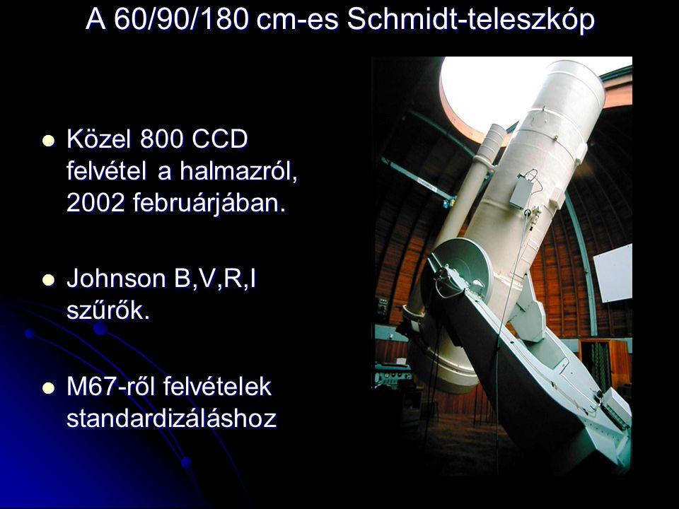 A 60/90/180 cm-es Schmidt-teleszkóp  Közel 800 CCD felvétel a halmazról, 2002 februárjában.  Johnson B,V,R,I szűrők.  M67-ről felvételek standardiz
