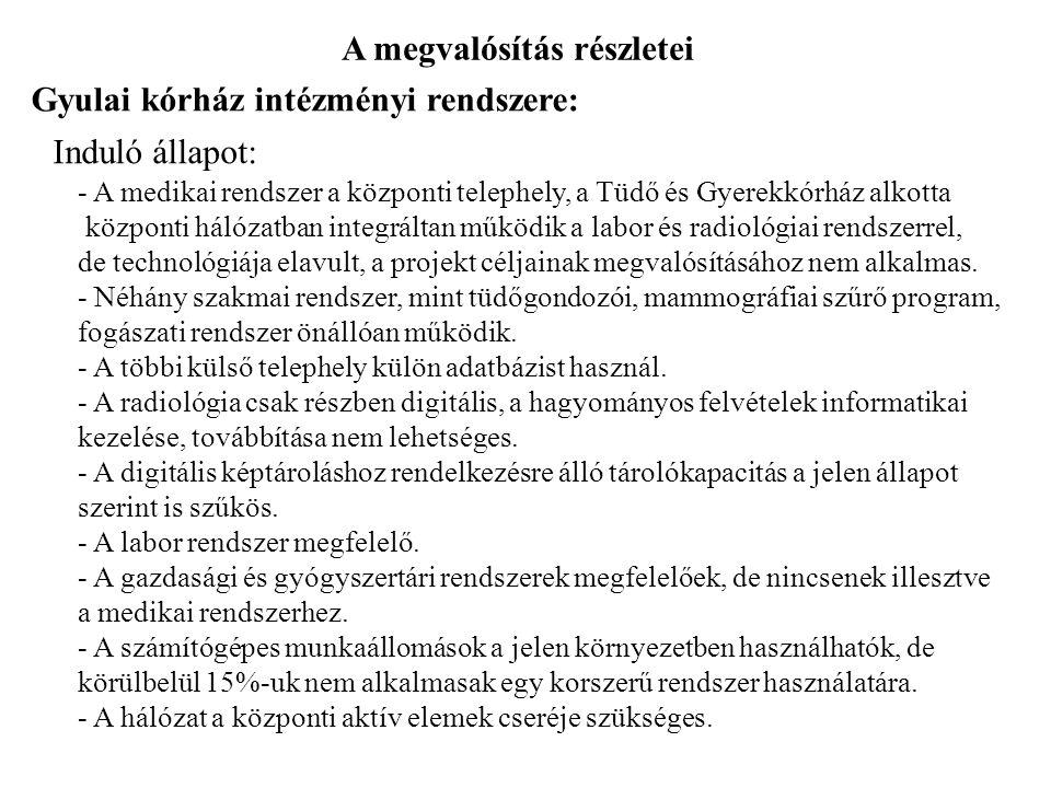 A megvalósítás részletei Gyulai kórház intézményi rendszere: Induló állapot: - A medikai rendszer a központi telephely, a Tüdő és Gyerekkórház alkotta