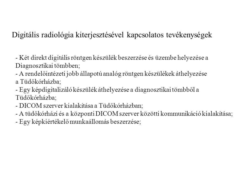 Digitális radiológia kiterjesztésével kapcsolatos tevékenységek - Két direkt digitális röntgen készülék beszerzése és üzembe helyezése a Diagnosztikai