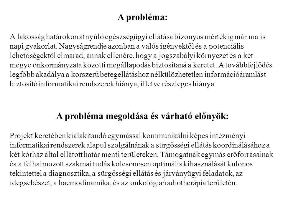 Aradi kórház intézményi rendszere: Induló állapot: - A medikai rendszer nem fedi le a teljes betegellátási folyamatot, és nem is érhető el minden munkahelyen, ahol szükséges lenne.