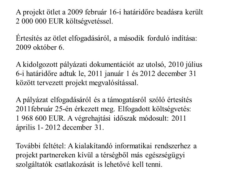 A projekt ötlet a 2009 február 16-i határidőre beadásra került 2 000 000 EUR költségvetéssel. Értesítés az ötlet elfogadásáról, a második forduló indí
