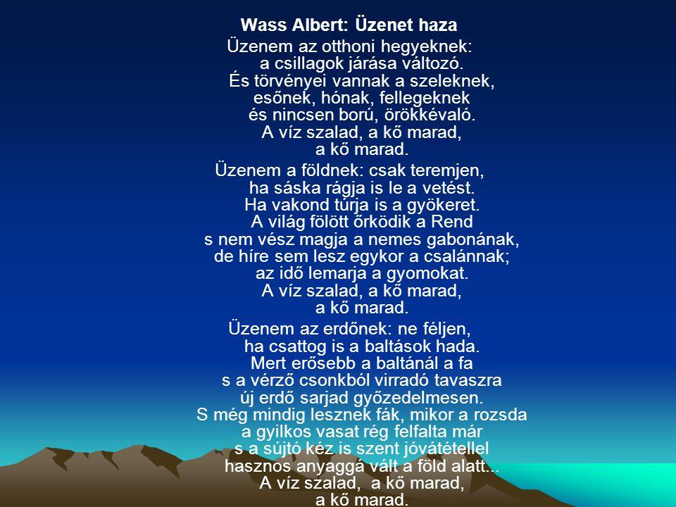 Wass Albert: Üzenet haza Üzenem az otthoni hegyeknek: a csillagok járása változó.