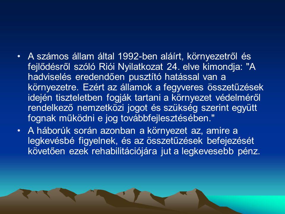 •A számos állam által 1992-ben aláírt, környezetről és fejlődésről szóló Riói Nyilatkozat 24.