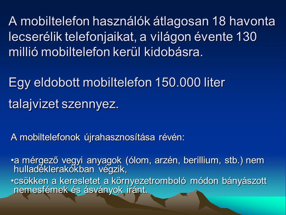 A mobiltelefon használók átlagosan 18 havonta lecserélik telefonjaikat, a világon évente 130 millió mobiltelefon kerül kidobásra.