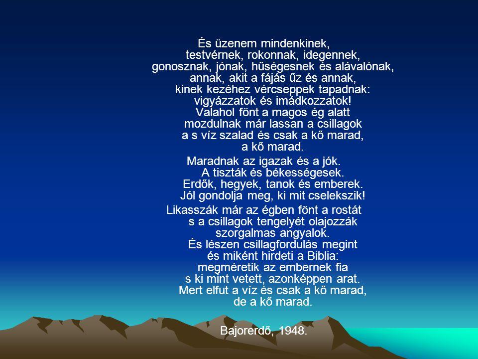 És üzenem mindenkinek, testvérnek, rokonnak, idegennek, gonosznak, jónak, hűségesnek és alávalónak, annak, akit a fájás űz és annak, kinek kezéhez vércseppek tapadnak: vigyázzatok és imádkozzatok.