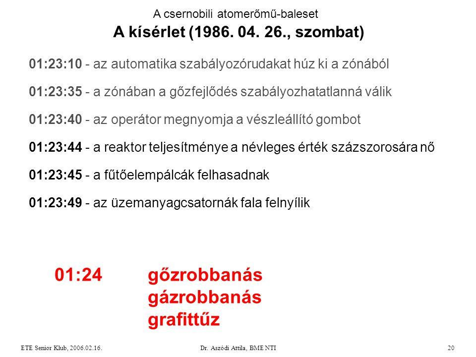 Dr. Aszódi Attila, BME NTI20ETE Senior Klub, 2006.02.16. A csernobili atomerőmű-baleset A kísérlet (1986. 04. 26., szombat) 01:23:10 - az automatika s