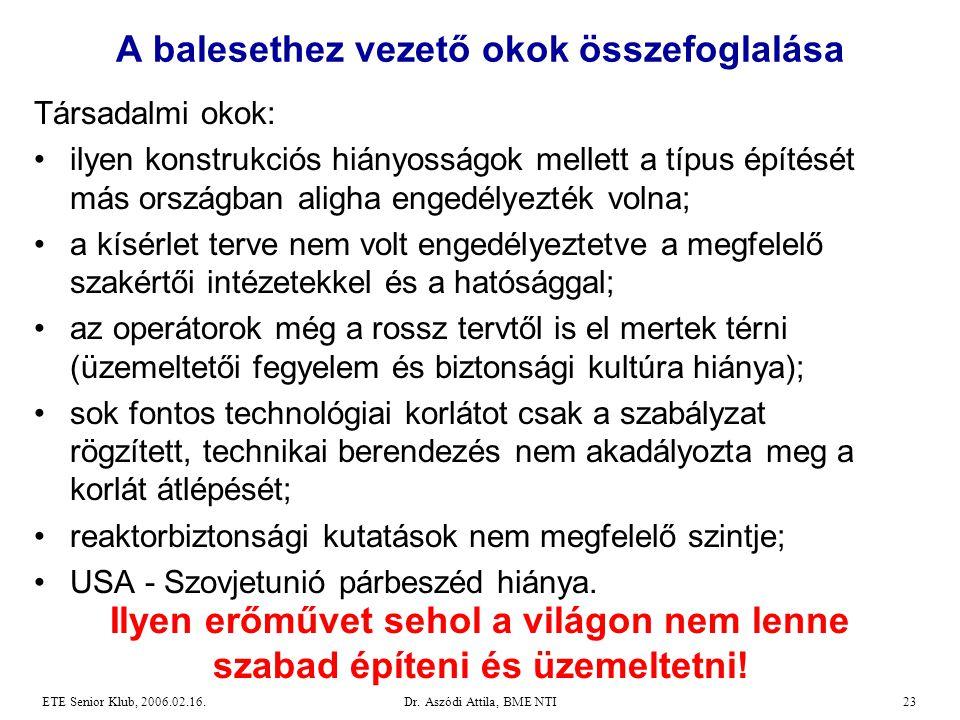 Dr. Aszódi Attila, BME NTI23ETE Senior Klub, 2006.02.16. Társadalmi okok: •ilyen konstrukciós hiányosságok mellett a típus építését más országban alig