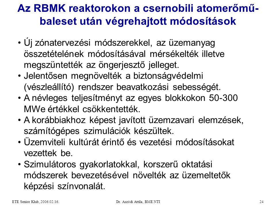 Dr. Aszódi Attila, BME NTI24ETE Senior Klub, 2006.02.16. Az RBMK reaktorokon a csernobili atomerőmű- baleset után végrehajtott módosítások •Új zónater