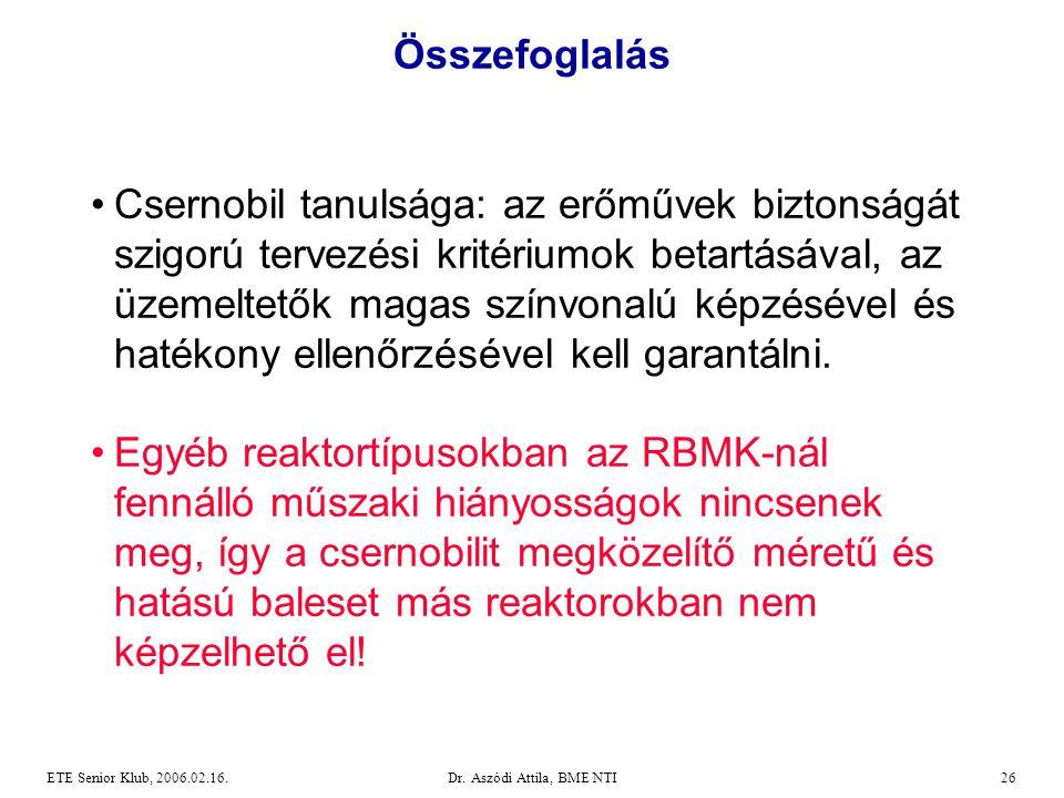 Dr. Aszódi Attila, BME NTI26ETE Senior Klub, 2006.02.16. Összefoglalás •Csernobil tanulsága: az erőművek biztonságát szigorú tervezési kritériumok bet