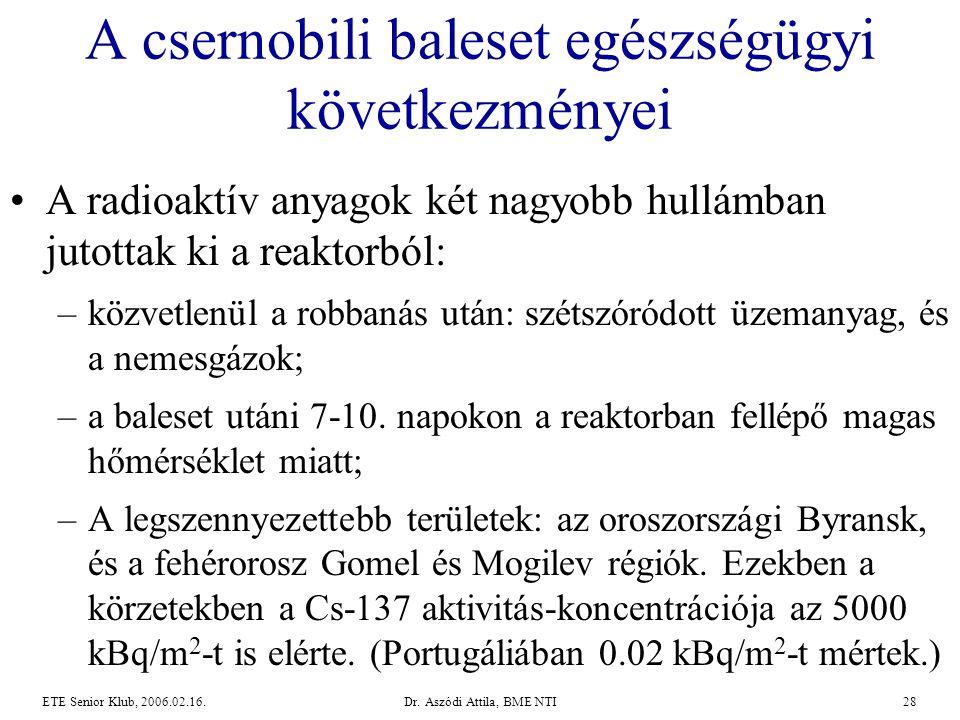 Dr. Aszódi Attila, BME NTI28ETE Senior Klub, 2006.02.16. A csernobili baleset egészségügyi következményei •A radioaktív anyagok két nagyobb hullámban