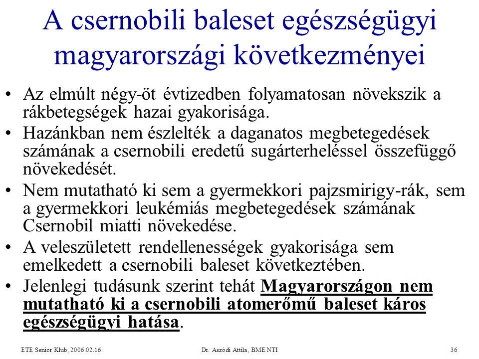 Dr. Aszódi Attila, BME NTI36ETE Senior Klub, 2006.02.16. A csernobili baleset egészségügyi magyarországi következményei •Az elmúlt négy-öt évtizedben